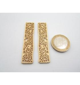 2 componenti in zama placcato oro giallo satinato rettangolo traforato 54x12 mm