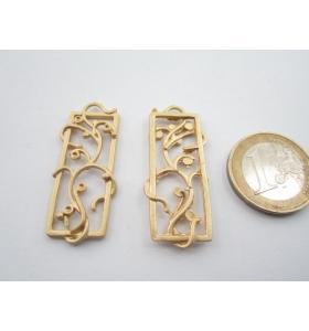 2 componenti in zama placcato oro giallo satinato rampicante di 39 x 14 mm