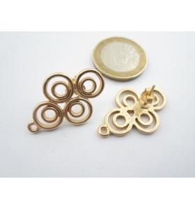 2 basi x orecchini 4 doppi cerchi in zama placcato oro giallo di 29 x 19 mm