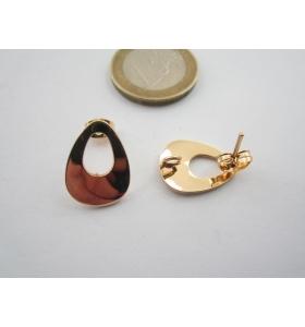 2 basi x orecchini in zama lucido placcato oro giallo di 16 x 12 mm