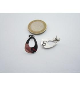 2 basi x orecchini in zama lucido e rodiato di 16 x 12 mm