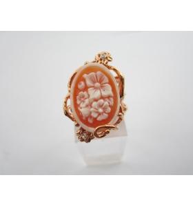 anello artigianale in argento 925 placcato oro rosè con cammeo da conchiglia
