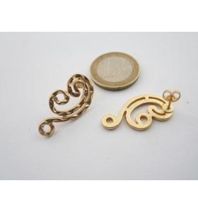 2 basi x orecchini in zama martellato placcato oro giallo di 25 x 15 mm