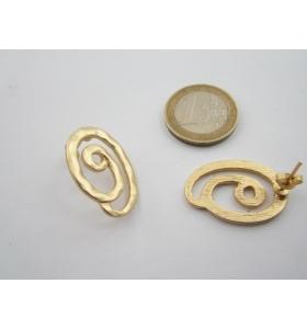 2 basi x orecchini in zama martellato placcato oro giallo di 26 x 18 mm