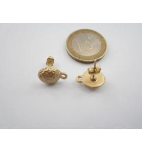 2 basi x orecchini tonde in zama placcato oro giallo satinato misure 13 x 10 mm