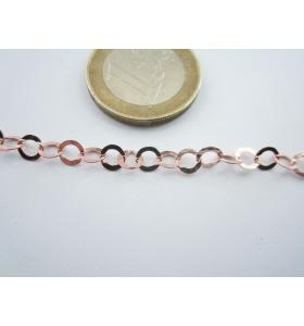 10 cm di catena in argento 925 martellata placcata oro rosso di 4,5 mm italy
