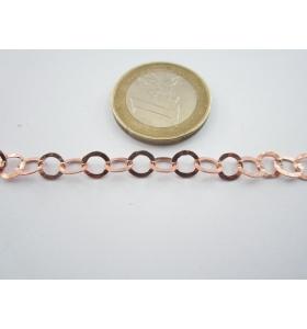 10 cm di catena in argento 925 martellata placcata oro rosso di 5,5 mm italy