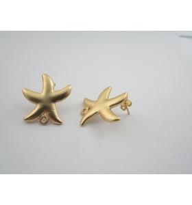2 basi x orecchini in zama stella marina placcato oro giallo satinato di 24 x 22 mm