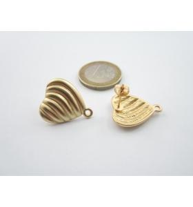 2 basi x orecchini zama cuore placcato oro giallo satinato di 20 x 18 mm