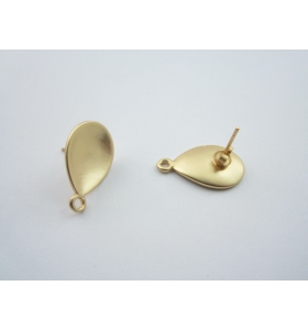 2 basi x orecchini zama ovale incavo placcato oro giallo satinato di 22 x 14 mm