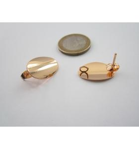 2 basi x orecchini zama lucido e placcato oro giallo ovale bombato di 20x19 mm