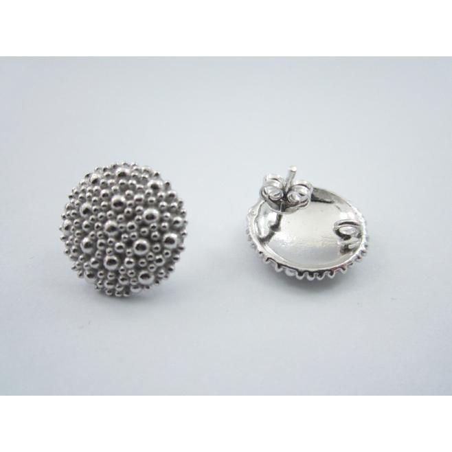1 paio di basi orecchino bottone puntinati a sbalzo in argento 925 rodiato 15 mm