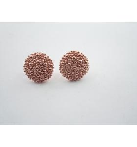 1 paio di basi orecchino bottone puntinati a sbalzo argento 925 placc. oro rosso