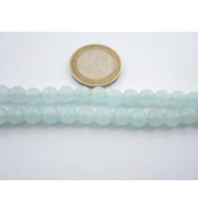 6 pietre in giada acquamarina cabochon di 6,5 mm