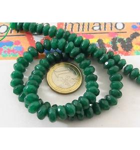 1 filo di pietre in radice di smerald sfaccettato stondato di 8 x 4 mm lun 39 cm