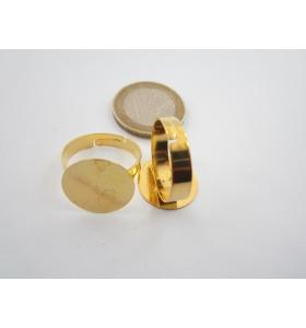1 base anello da incollo in ottone dorato regolabile base tonda di 16 mm