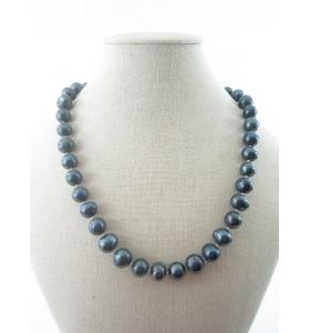 collana nodini perle semi grezze di 9/10 mm australiane grigio lunga 45 cm