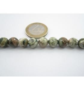 4 pietre di riolite naturale sfaccettate diametro 8 mm diaspro oceanico