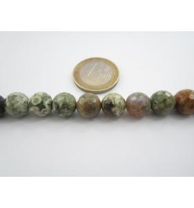 2 pietre di riolite naturale sfaccettate diametro 10 mm diaspro oceanico