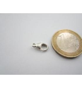 1 moschettone medio piccolo argento 925 con anello fisso di 11 x 5,5 mm italy