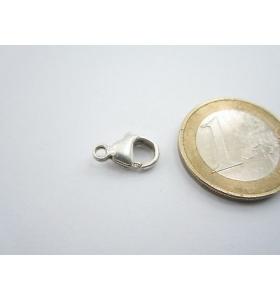 1 moschettone medio grande argento 925 con anello fisso di 13 x 8 mm italy