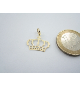 1 ciondolo charms corona reale in argento 925 placcato oro giallo di 18x16 mm