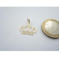 charms  pendente cornetto corona zirconi verdi argento 925 placcato oro giallo