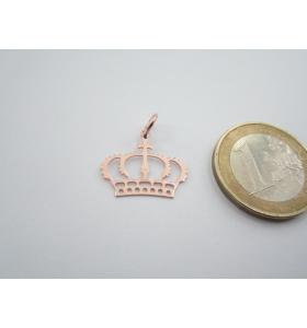 1 ciondolo charms corona reale in argento 925 di 18x16 mm placcato oro rosso