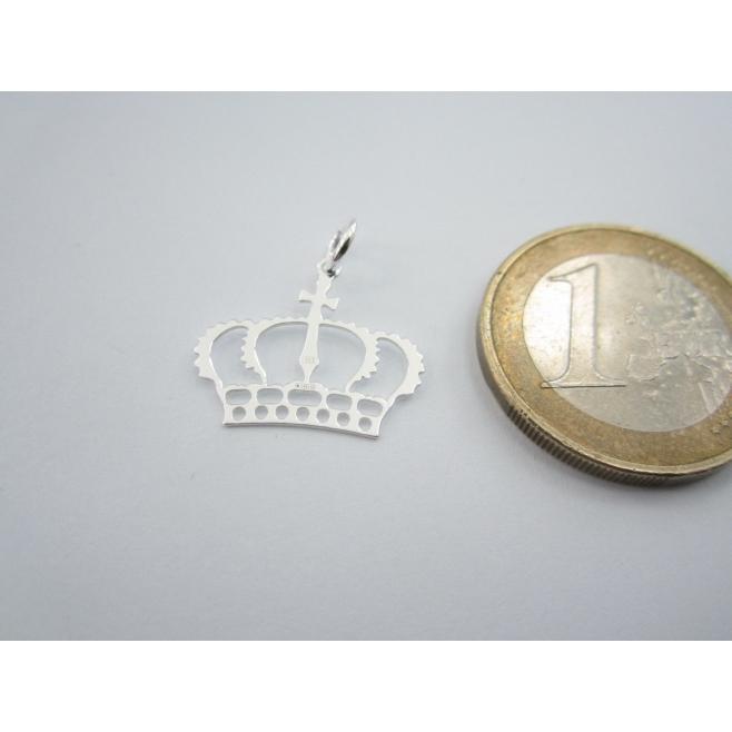1 ciondolo charms corona reale in argento 925 bianco di 18x16 mm