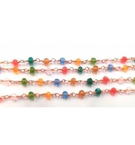 50 cm catena concatenata colore oro rosè cristalli mix color1 3,5 x 3 mm