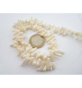 1 filo di rametti corti in corallo bambù naturale bianco irregolari lungo 40 cm