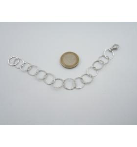 1 bracciale a cerchi concatenati in argento 925 rodiato lungo cm 18,5