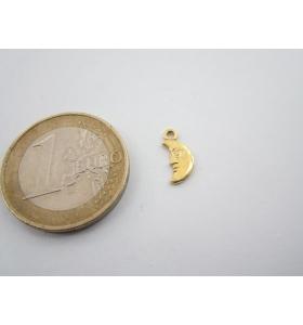 ciondolo charms mezza luna in argento 925 placcato oro giallo di 11x5 mm italy