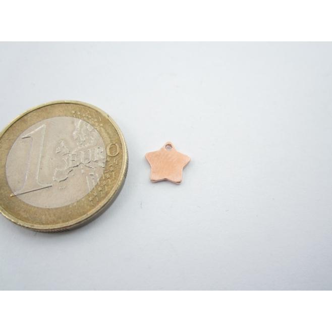 ciondolo charms stellina in argento 925 placcato oro rosso di 7,5 mm italy
