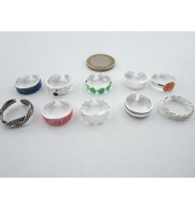 lotto ingrosso di 10 anelli da piede in argento 925 made in italy