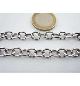 10 cm catena in argento 925 rodiato modello tiffa@ny ovali di 8,5 x 7 mm italy