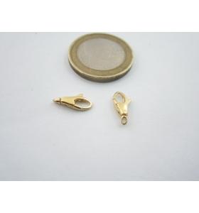 1 particolare moschettone anellino chiuso in argento 925 placcato oro giallo