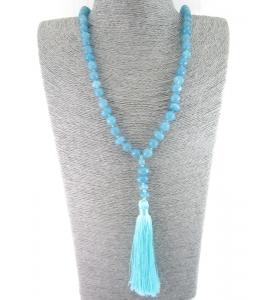 collana mala rosario buddista in angelite naturale lunga 56 cm