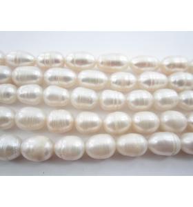 1 filo di perle bianche australiane ovaloidi rigate