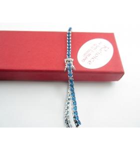 INGROSSO bracciale tennis in argento rodiato con zirconi topazio blu