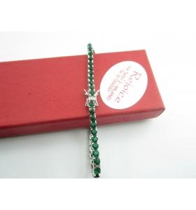 INGROSSO bracciale tennis in argento rodiato con zirconi verde smeraldo