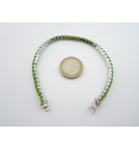 INGROSSO bracciale tennis in argento rodiato con zirconi verde peridoto