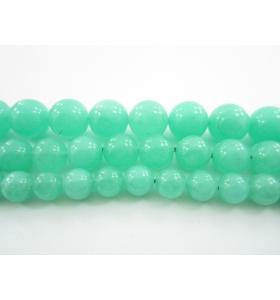 1 filo in giada acquamarina verde cabochon di 8 mm 49 pietre lungo 40 cm
