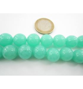 2 pietre in giada acquamarina verde cabochon di 12 mm