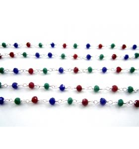 lotto ingrosso 5 metri catena rosario cristalli mix color 3 colori di 3,5 mm