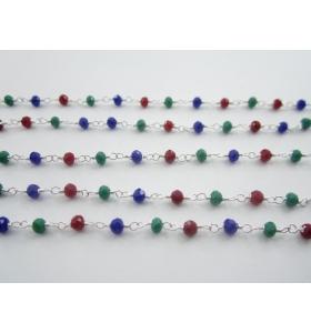 50 cm di catena rosario cristalli mix color 3 colori di 3,5 x 2,5 mm