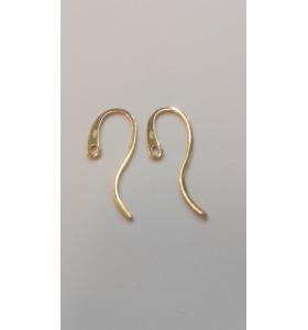 1 paio ganci orecchino ad amo piatto lungo argento 925 placcato oro giallo