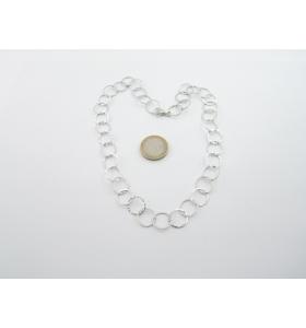 collana girocollo in catena cerchi martellati argento 925 rodiato made in italy