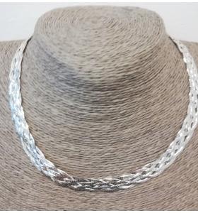 collana girocollo 6 maglie piatte intrecciate in argento 925 made in italy