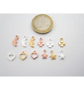 ciondolo charms mezza luna in argento 925 placcato rosa di 11x5 mm italy